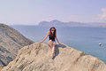 Sea girl on a mountain above the Royalty Free Stock Photos