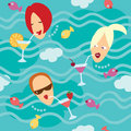 Sea and girls. Seamless pattern. Royalty Free Stock Images