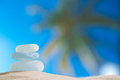 Sea glass seaglass with ocean beach and palmtree seascape shallow dof Royalty Free Stock Images