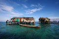 Sea gypsy village in borneo bajau laut pala u badjau have sometimes been referred to as the gypsies are an indigenous ethnic group Royalty Free Stock Photography