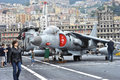 Sea harrier an italian tav b ii aircraft aboard the italian navy s aircraft carrier giuseppe garibaldi picture taken in genoa Royalty Free Stock Images