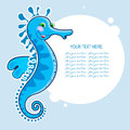 Sea horse with a banner round Royalty Free Stock Image