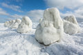 Sea ice natural storm sculptures Royalty Free Stock Photos