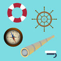 Sea icon set spyglass, compass, sailors cap, lifebuoy, wheel. vector illustration