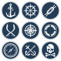 Sea icon set various pirate vector illustration Stock Images