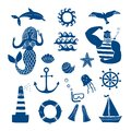 Sea icons cartoon set Royalty Free Stock Photo
