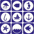 Sea icons set of animal and fishing Royalty Free Stock Photography