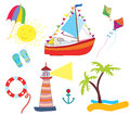 Sea icons set funny design cartoon Royalty Free Stock Image