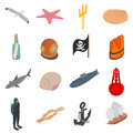 Sea Icons set, isometric 3d style