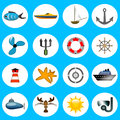 Sea icons set of sixteen isolated on a blue surface Stock Images