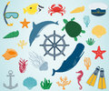 Sea icons and symbols set. Sea animals. Nautical design elements. Vector Royalty Free Stock Photo