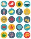 Sea icons and symbols set. Sea animals. Nautical design elements. Vector Royalty Free Stock Photo