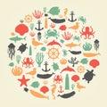 Sea icons and symbols set. Sea animals. Nautical design elements. Vector