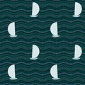 Sea illustration seamless and boats pattern Royalty Free Stock Photo