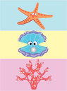 Sea inhabitants with eyes illustration vector Stock Photo