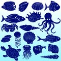 Sea inhabitants set of silhouettes of fish and shells Stock Photo