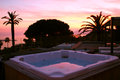 Sea and jacuzzi view from terrace Royalty Free Stock Photo