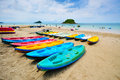 Sea kayaks on the beach Stock Images