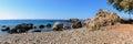 Sea lagoon among mountains of Crete island near Paleochora town, Greece Royalty Free Stock Photo
