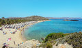 Sea lagoon and Vai sandy beach at the eastern part of Crete island near Sitia town Royalty Free Stock Photo
