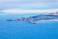 Sea landscape aerial view, Giardini Naxos. Taormina, Sicily. Italy Royalty Free Stock Photo