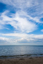 Sea landscape beach and sky whit clouds on summer day Stock Photo