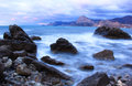 Sea landscape with cloudy sky crimea ukraine Royalty Free Stock Photo