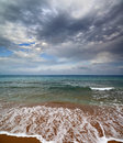 Sea landscape with moody sky dramatic Royalty Free Stock Image