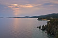 Sea and landscape of sithonia west coast at sunset greece Stock Images
