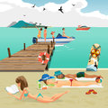Sea landscape summer beach. Man and woman sunbathing lying Royalty Free Stock Photo