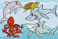 Sea life animals and fish cartoon illustrations of funny mascot characters group Royalty Free Stock Images