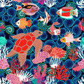 Sea life art. Seamless vector pattern.