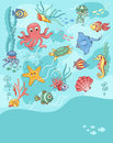 Sea life card blue template for your text cartoon vector illustration Stock Photography