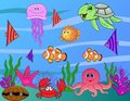 Sea life cartoon collection Stock Photography