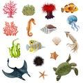 Sea Life Cartoon Icons Set Royalty Free Stock Photo