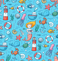 Sea life colorful vector seamless pattern Royalty Free Stock Photo
