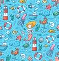 Sea life colorful vector seamless pattern and nautical stuff Stock Photo