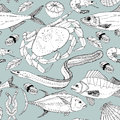 Sea life doodle in lines pattern ready for fish shop Stock Photography