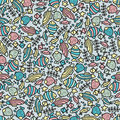 Sea life fish seamless pattern vector doodle illustration Stock Photos