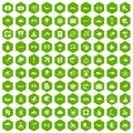 100 sea life icons hexagon green