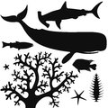 Sea life isolated objects on white background vector illustration eps Stock Image