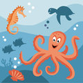 Sea life octopus horse turtle and tropical fishes in the Stock Image