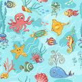 Sea life pattern blue seamless cartoon vector background Royalty Free Stock Images