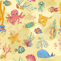 Sea life pattern yellow seamless cartoon vector background Stock Photos