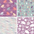 Sea life patterns collection colorful of seamless Royalty Free Stock Photo