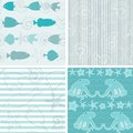 Sea life patterns collection colorful of seamless Royalty Free Stock Images