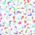 Sea life seamless marine animals seamless pattern.