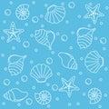 Sea life seamless pattern Royalty Free Stock Photo