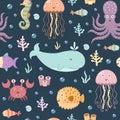 Sea life seamless pattern.