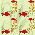 Sea life seamless pattern on green background Stock Image
